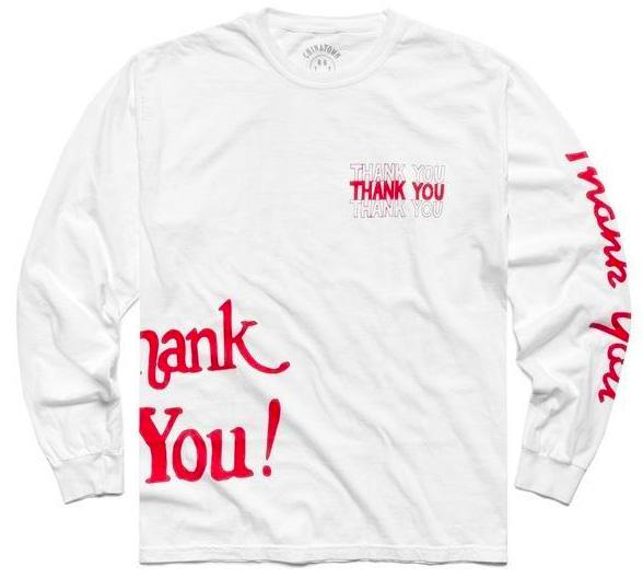【CHINATOWN MARKET/チャイナタウンマーケット】THANK YOU ALL OVER LS ロングTシャツ / WHITE