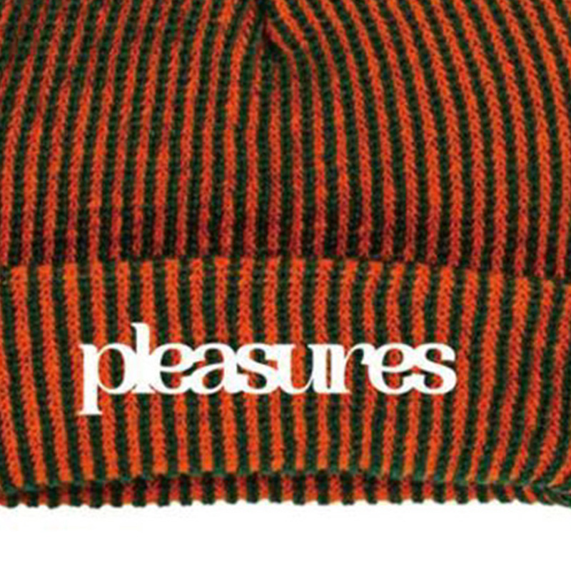 【PLEASURES/プレジャーズ】VIOLATION STIRPED BEANIE ニット帽 / ORANGE