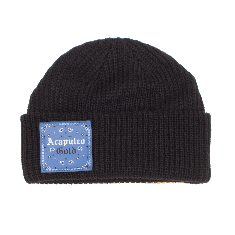【ACAPULCO GOLD/アカプルコ ゴールド】USAG CABLE BEANIE ニット帽 / BLACK/BLUE