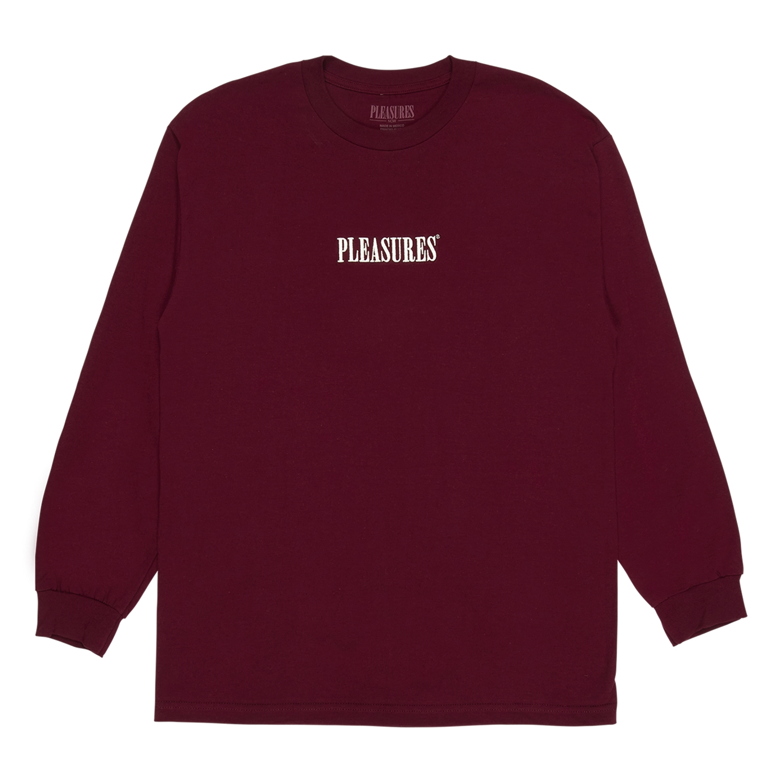 【PLEASURES/プレジャーズ】CORE EMBROIDERED LONG SLEEVE 長袖Tシャツ / BURGUNDY