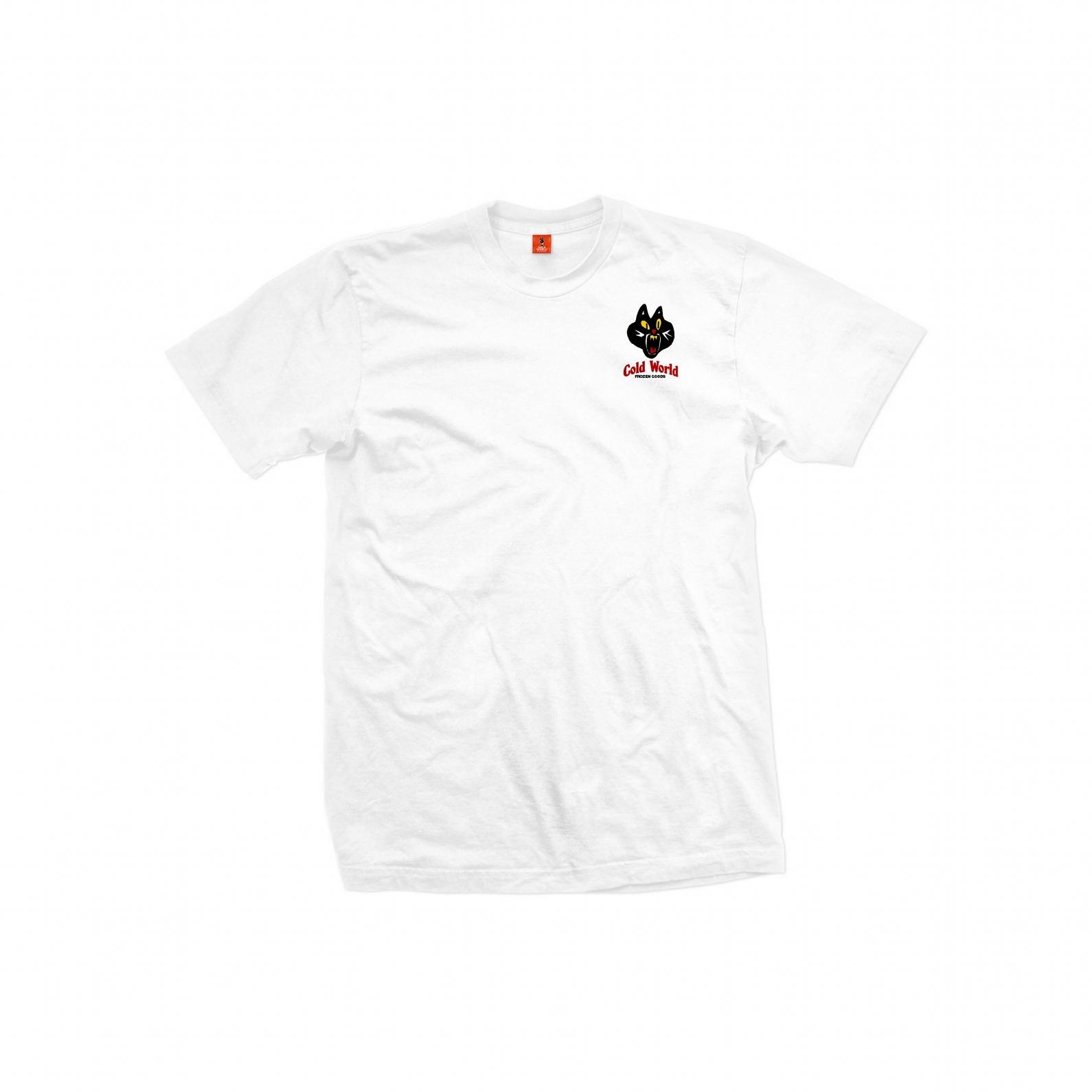 【COLD WORLD FROZEN GOODS/コールドワールドフローズングッズ】JAZZ CAT T-SHIRT Tシャツ / WHITE