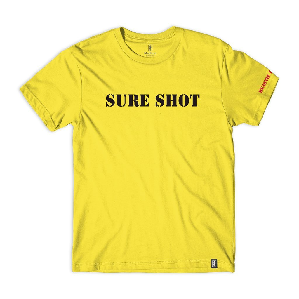 【GIRL SKATEBOARDS/ガールスケートボード×BEASTIE BOYS/ビースティ・ボーイズ】SURE SHOT TYPE S/S Tシャツ / YELLOW