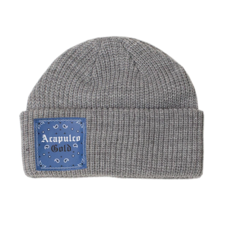 【ACAPULCO GOLD/アカプルコ ゴールド】USAG CABLE BEANIE ニット帽 / GREY/BLUE