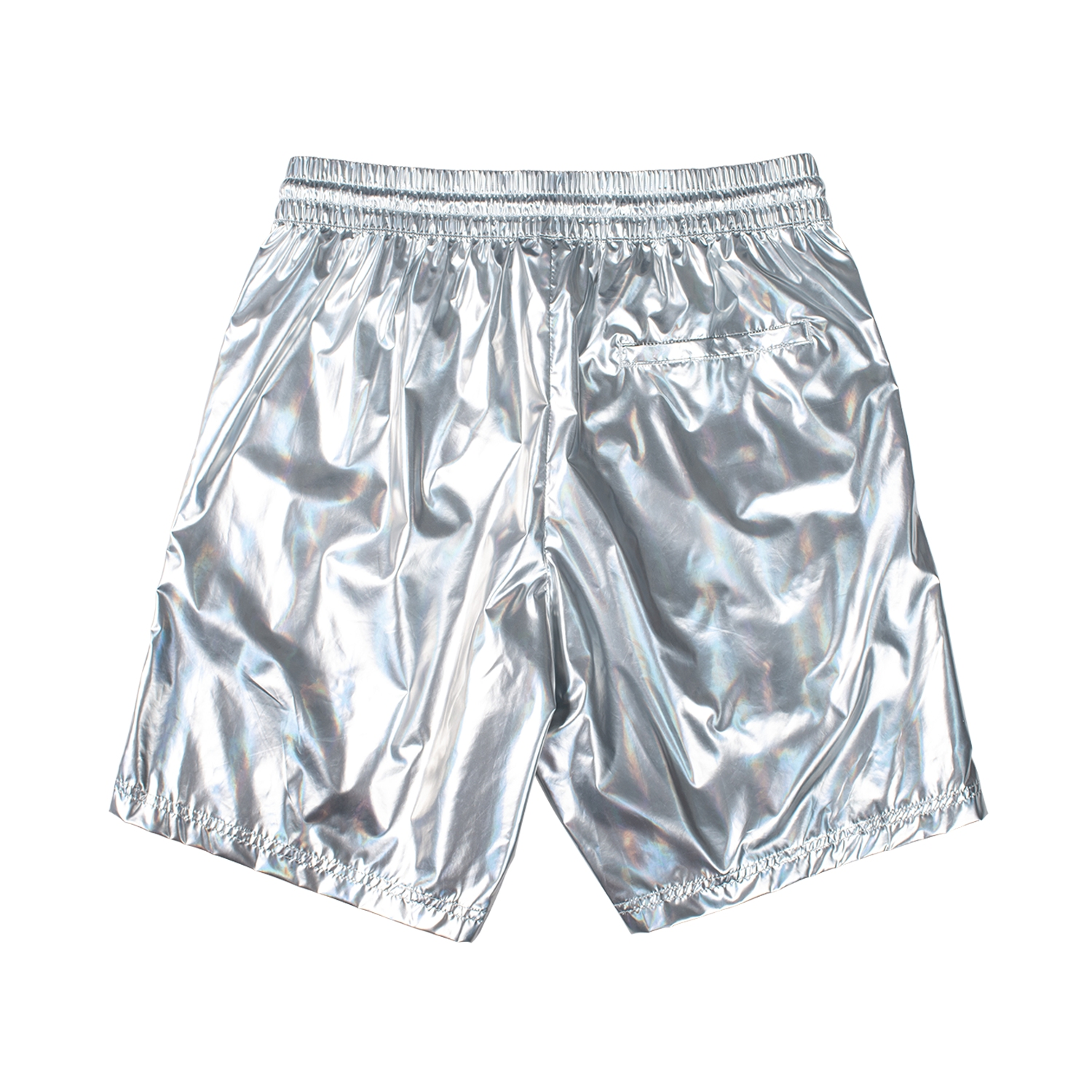 【PLEASURES/プレジャーズ】LIQUID METALLIC SHORTS ショートパンツ / SILVER