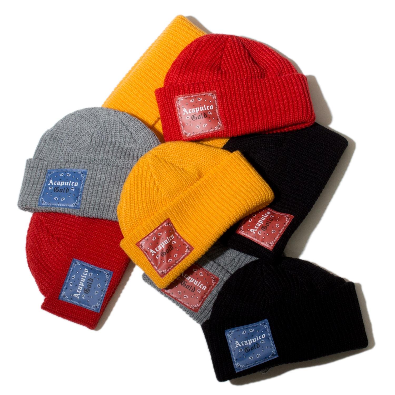 【ACAPULCO GOLD/アカプルコ ゴールド】USAG CABLE BEANIE ニット帽 / YELLOW/BLUE