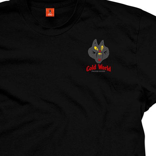 【COLD WORLD FROZEN GOODS/コールドワールドフローズングッズ】JAZZ CAT T-SHIRT Tシャツ / BLACK (3M INK)