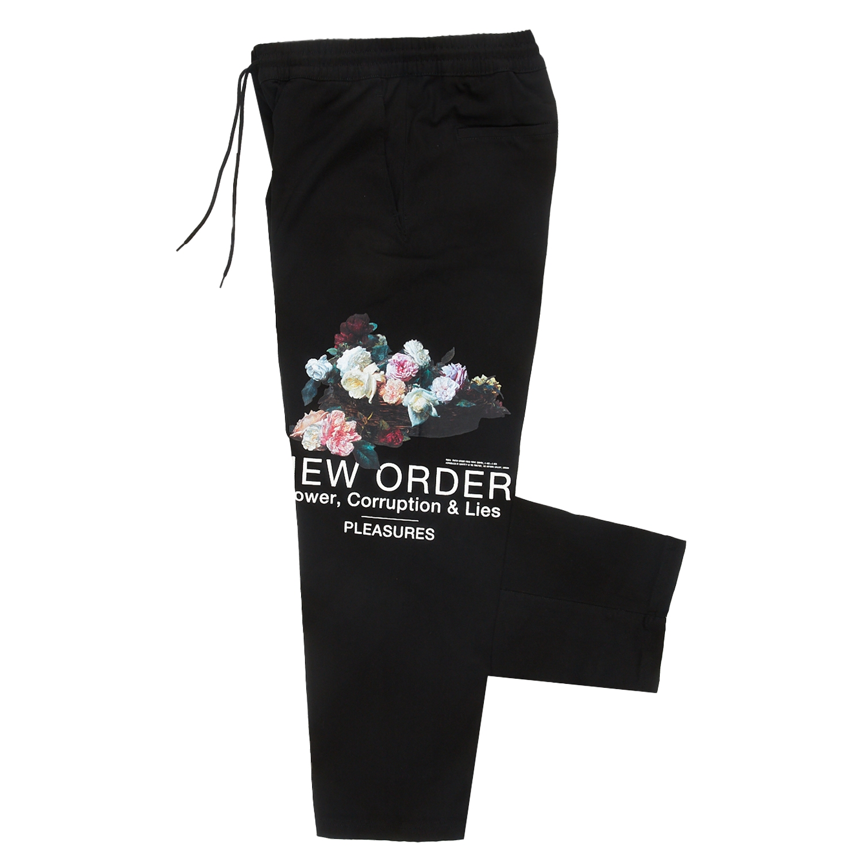 【PLEASURES/プレジャーズ×NEW ORDER/ニュー・オーダー】POWER BEACH PANT ビーチパンツ / BLACK