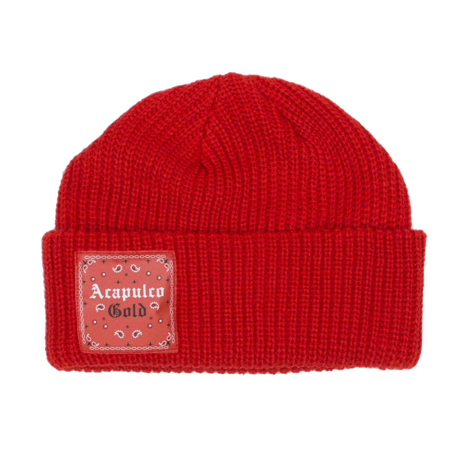 【ACAPULCO GOLD/アカプルコ ゴールド】USAG CABLE BEANIE ニット帽 / RED/RED