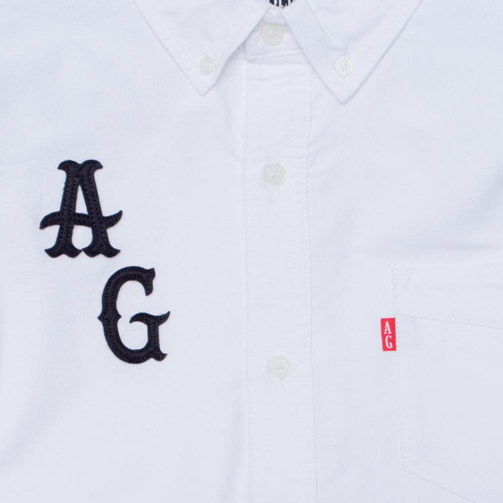 【ACAPULCO GOLD/アカプルコ ゴールド】AG APPLIQUE OXFORD BD SHIRTS 長袖シャツ / WHITE