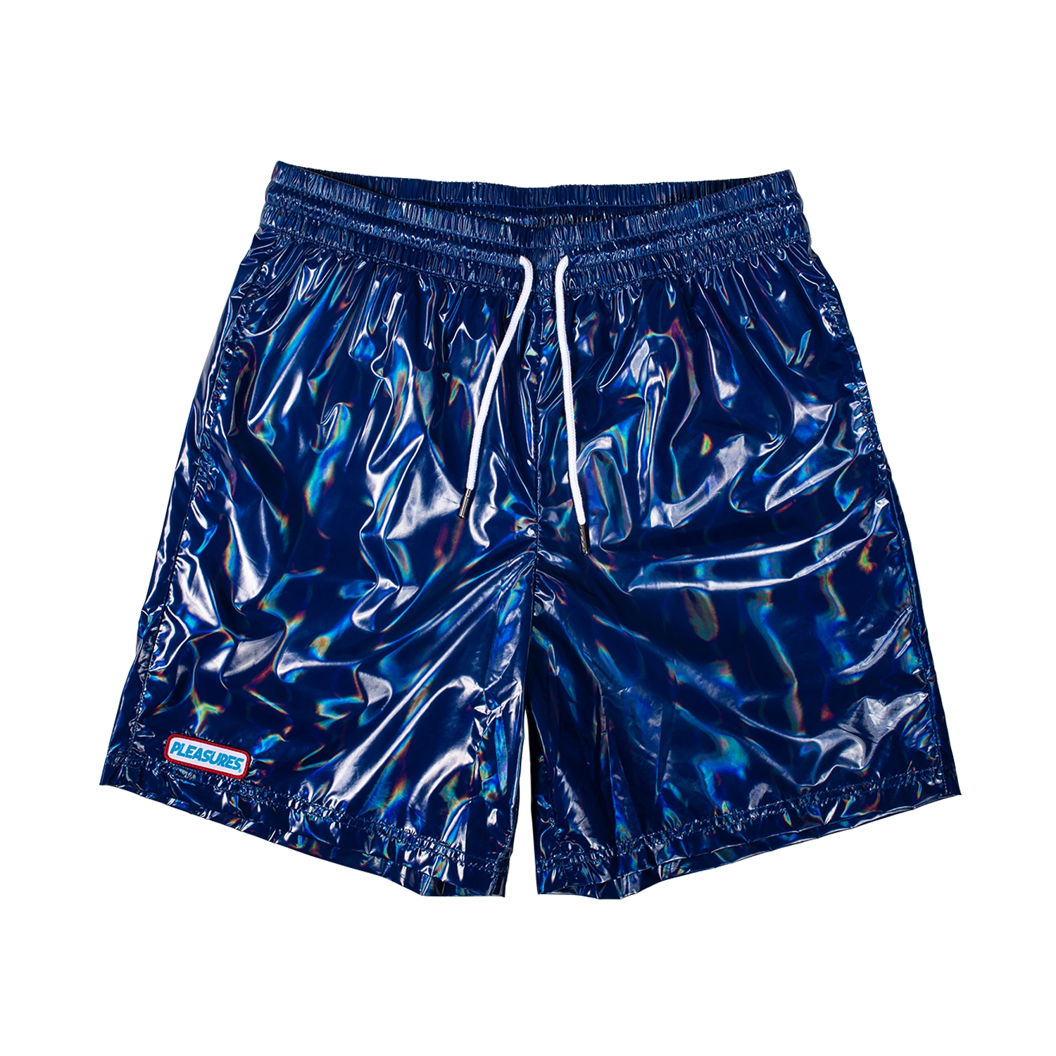 【PLEASURES/プレジャーズ】LIQUID METALLIC SHORTS ショートパンツ / NAVY