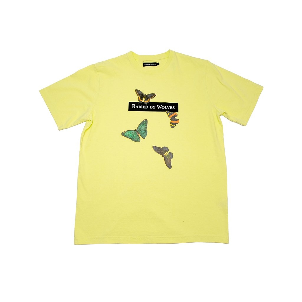 【RAISED BY WOLVES/レイズドバイウルブス】BUTTERFLIES TEE Tシャツ / LIME