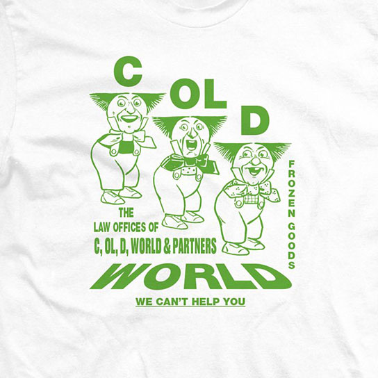 【COLD WORLD FROZEN GOODS/コールドワールドフローズングッズ】PERSONAL INJURY T-SHIRT Tシャツ / WHITE