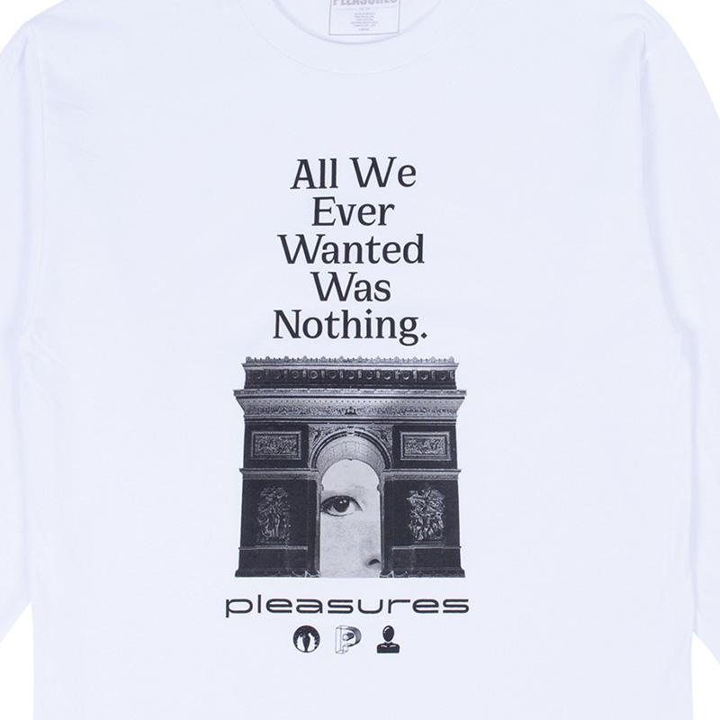 【PLEASURES/プレジャーズ】NOTHING LONG SLEEVE T-SHIRT ロングTシャツ / WHITE
