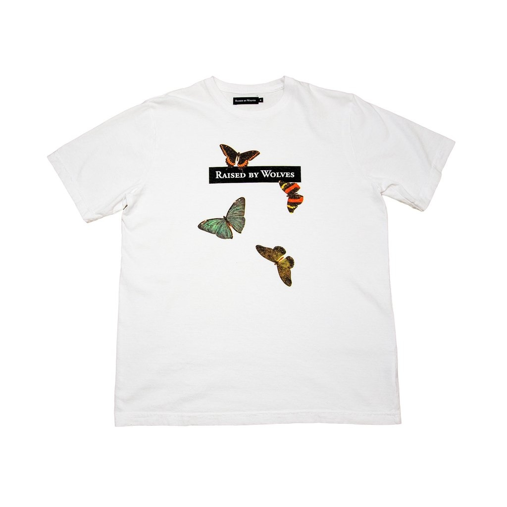 【RAISED BY WOLVES/レイズドバイウルブス】BUTTERFLIES TEE Tシャツ / WHITE