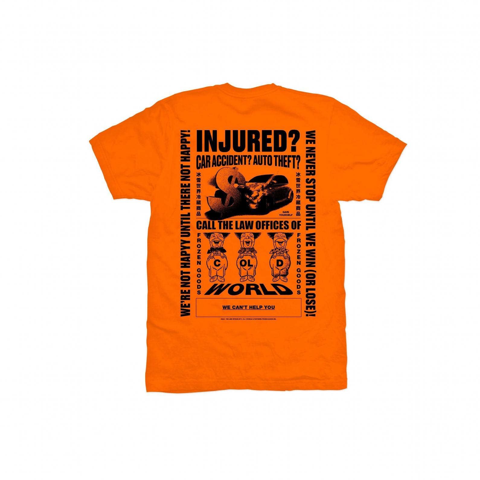 【COLD WORLD FROZEN GOODS/コールドワールドフローズングッズ】PERSONAL INJURY T-SHIRT Tシャツ / ORANGE