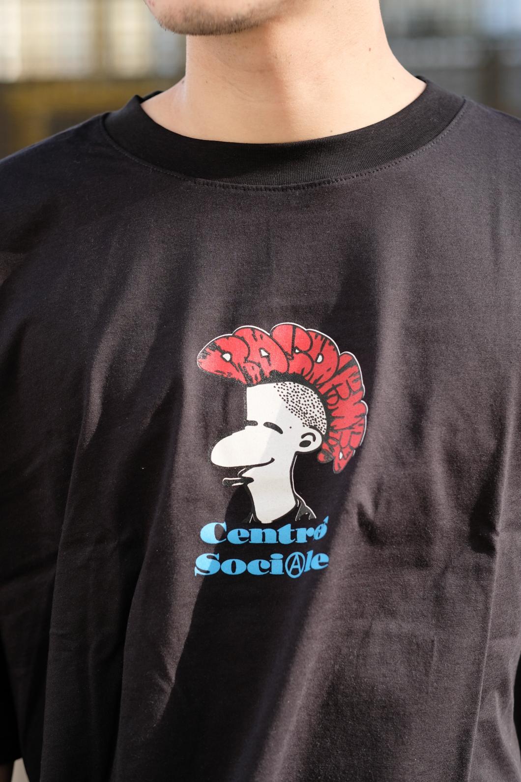【PAS DE MER/パドゥメ】CENTRO SOCIALE OVERSIZE T-SHIRT オーバーサイズTシャツ / BLACK