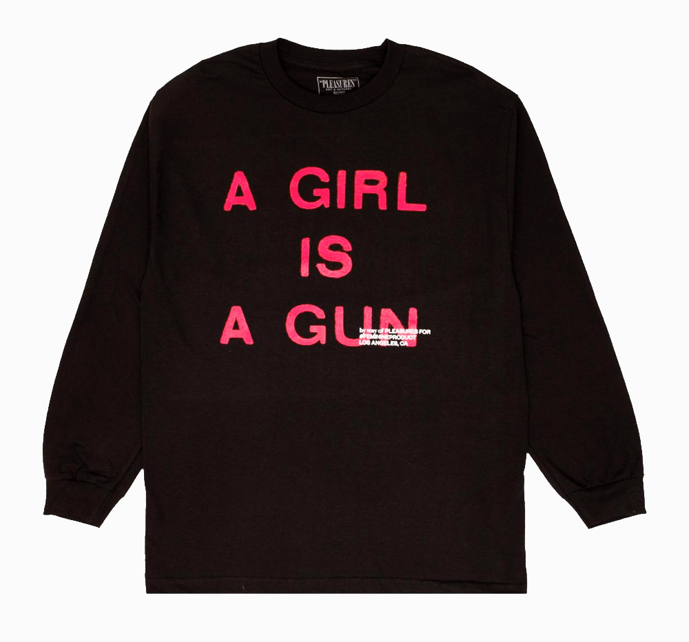 【PLEASURES/プレジャーズ】GIRL IS A GUN LONG SLEEVE T-SHIRT ロングTシャツ / BLACK