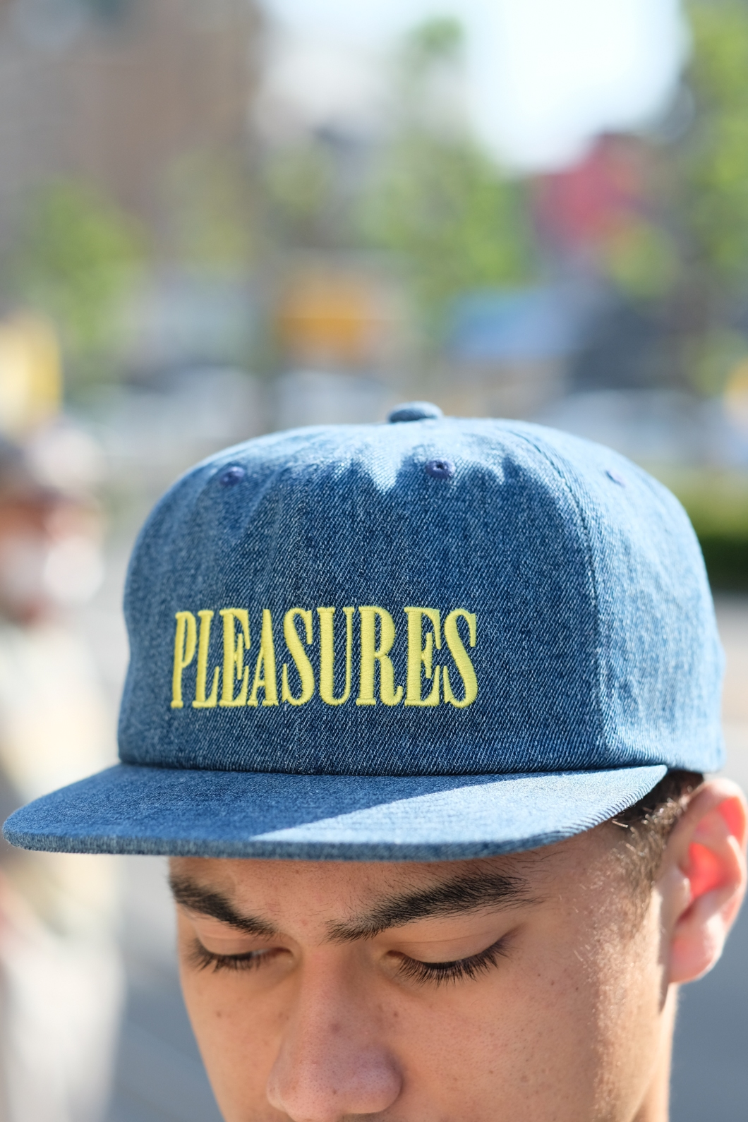 【PLEASURES/プレジャーズ】LITHIUM TRUCKER HAT トラッカーキャップ / BLUE