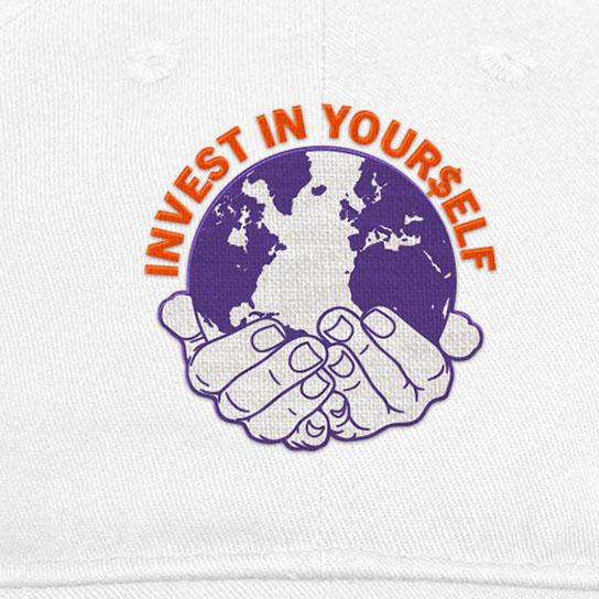 【COLD WORLD FROZEN GOODS/コールドワールドフローズングッズ】INVESTMENT UNSTRUCTURED 6 PANEL 6パネルキャップ / WHITE