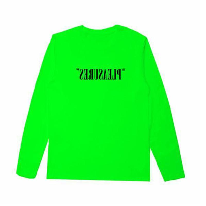 【PLEASURES/プレジャーズ】FLIPPED LOGO LONG SLEEVE T-SHIRT ロングTシャツ / SAFETY GREEN