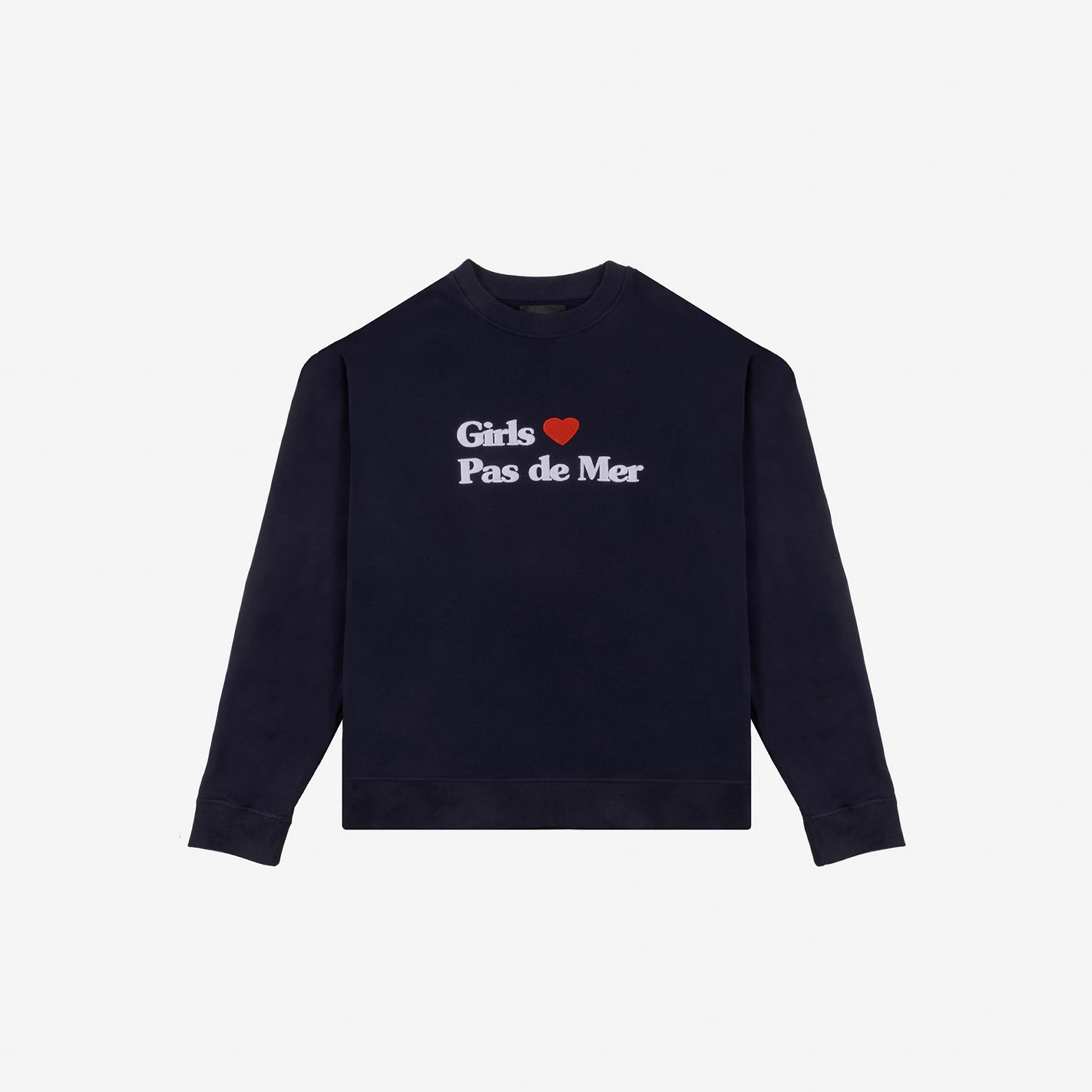 【PAS DE MER/パドゥメ】GIRLS LOVE OVERSIZE SWEATSHIRT クルーネックスウェット / NAVY