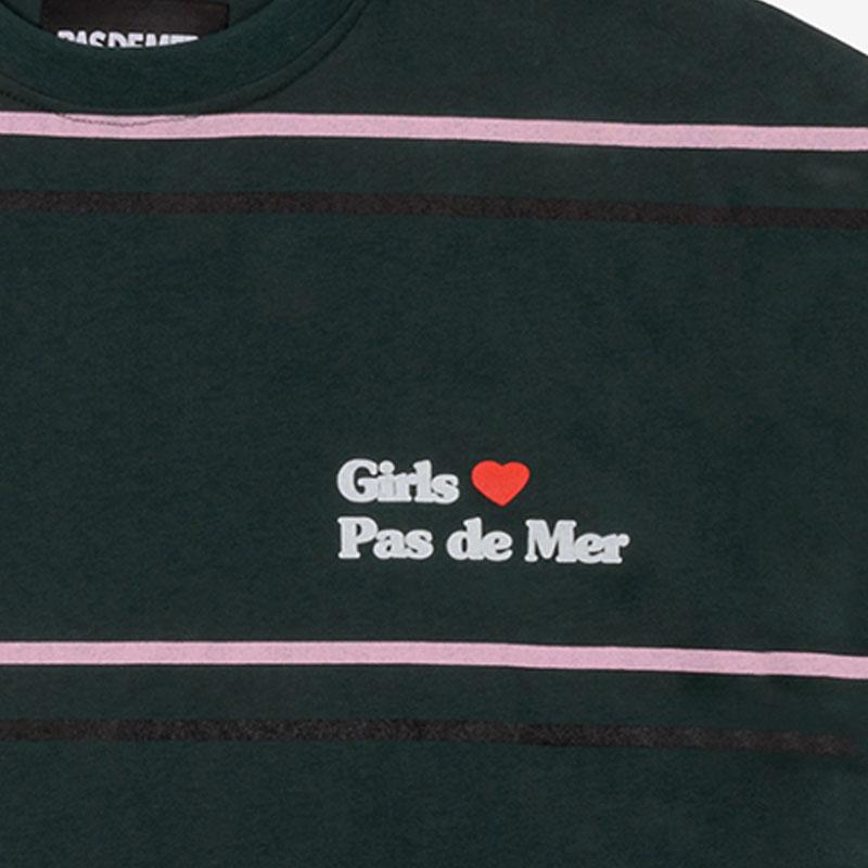 【PAS DE MER/パドゥメ】GIRLS LOVE T-SHIRT カットソーTシャツ / DARK GREEN