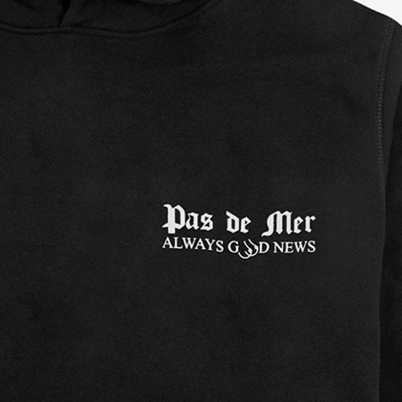 【PAS DE MER/パドゥメ】GOOD NEWS OVERSIZE HOODY オーバーサイズパーカー / BLACK
