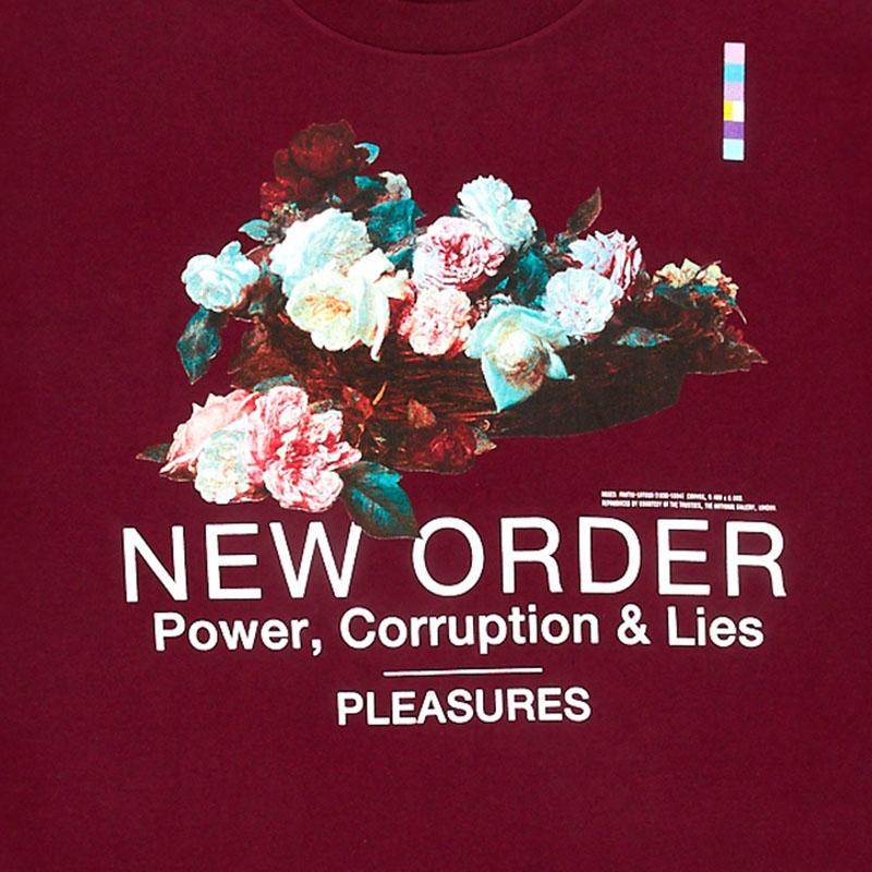 【PLEASURES/プレジャーズ×NEW ORDER/ニュー・オーダー】POWER T-SHIRT Tシャツ / BURGUNDY