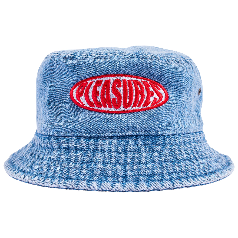 【PLEASURES/プレジャーズ】BUBBLE LOGO BUCKET HAT バケットハット / WASHED DENIM