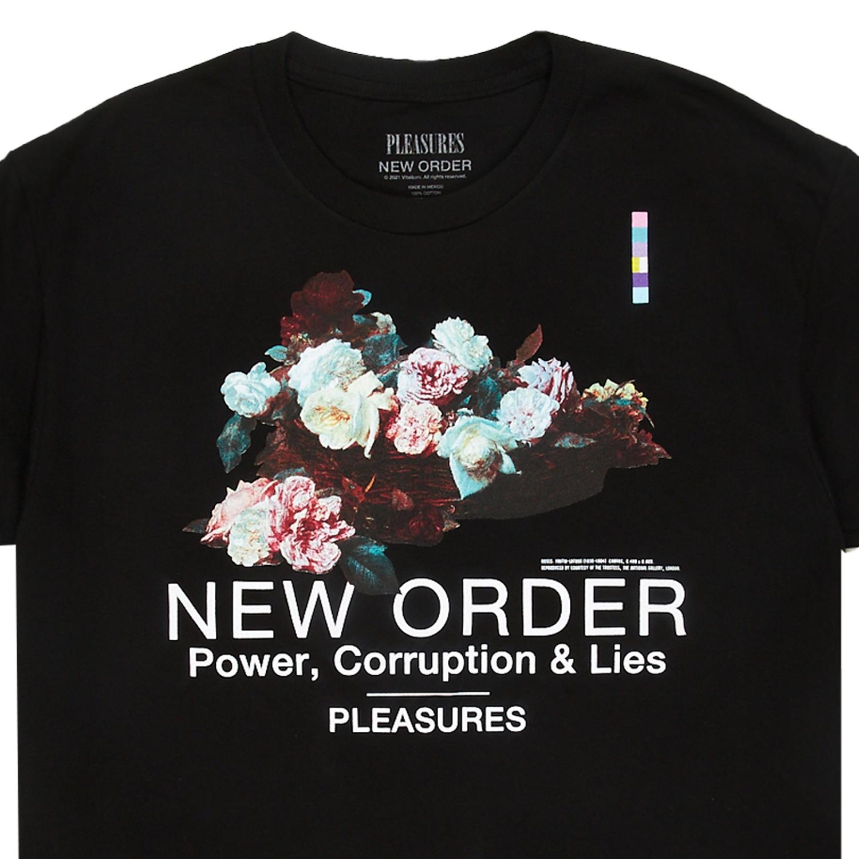 【PLEASURES/プレジャーズ×NEW ORDER/ニュー・オーダー】POWER T-SHIRT Tシャツ / BLACK
