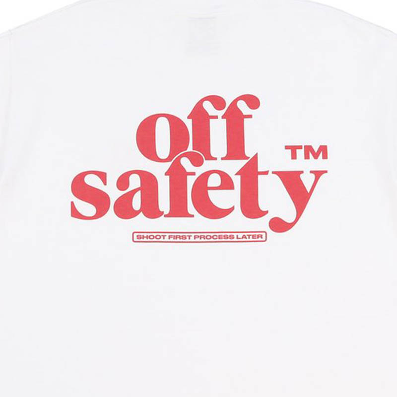 【OFF SAFETY/オフセーフティー】SHOOT FIRST PROCESS LATER TEE Tシャツ / WHITE