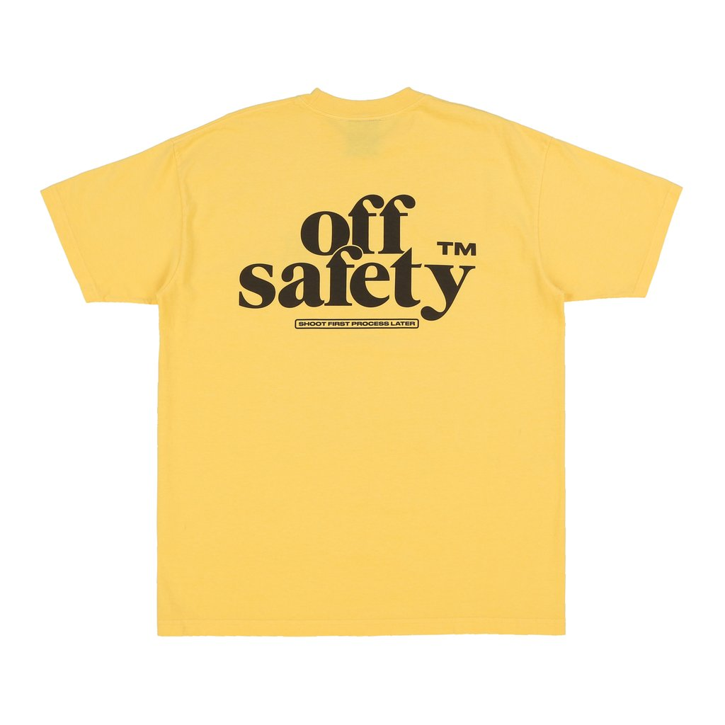 【OFF SAFETY/オフセーフティー】SHOOT FIRST PROCESS LATER TEE Tシャツ / YELLOW