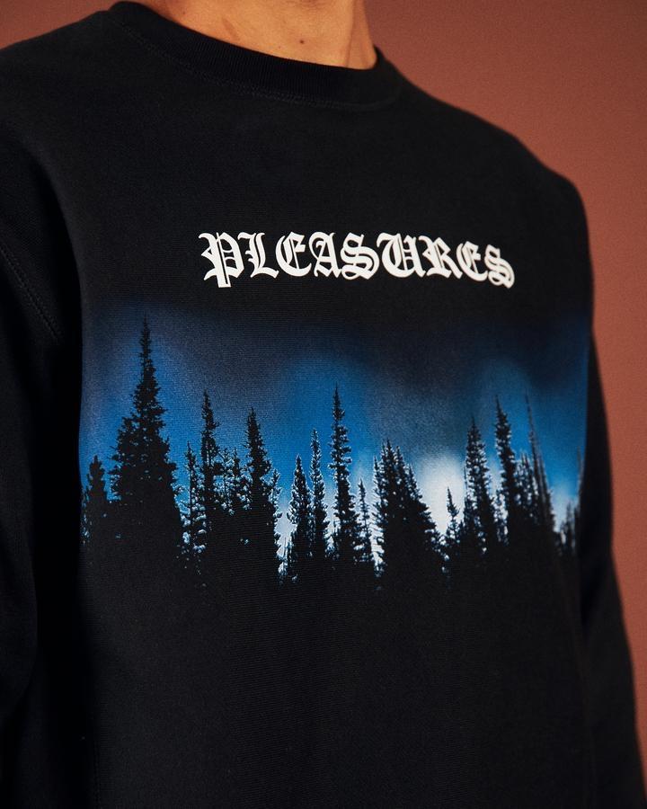 【PLEASURES/プレジャーズ】FOREST PREMIUM CREWNECK SWEATER クルーネックスウェット /  BLACK