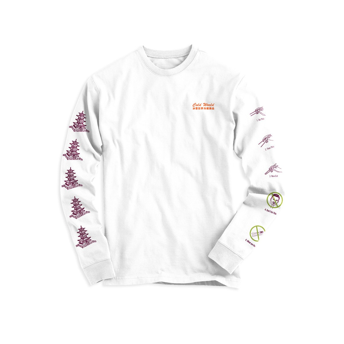 【COLD WORLD FROZEN GOODS/コールドワールドフローズングッズ】TAKE OUT LONG SLEEVES ロングTシャツ / WHITE
