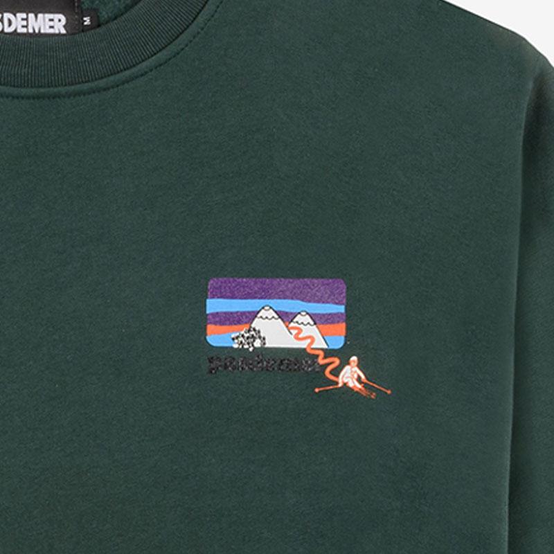 【PAS DE MER/パドゥメ】MOUNTAINS SWEATSHIRT クルーネックスウェット / DARK GREEN