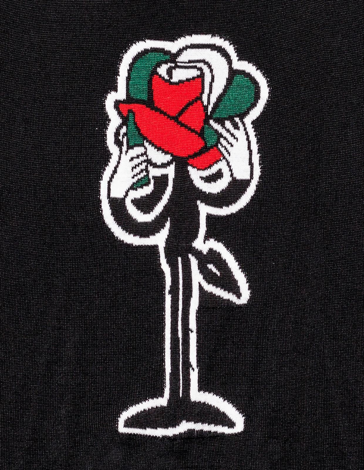 【PAS DE MER/パドゥメ】ROSE. KNITWEAR JACQUARD カットソー / BLACK