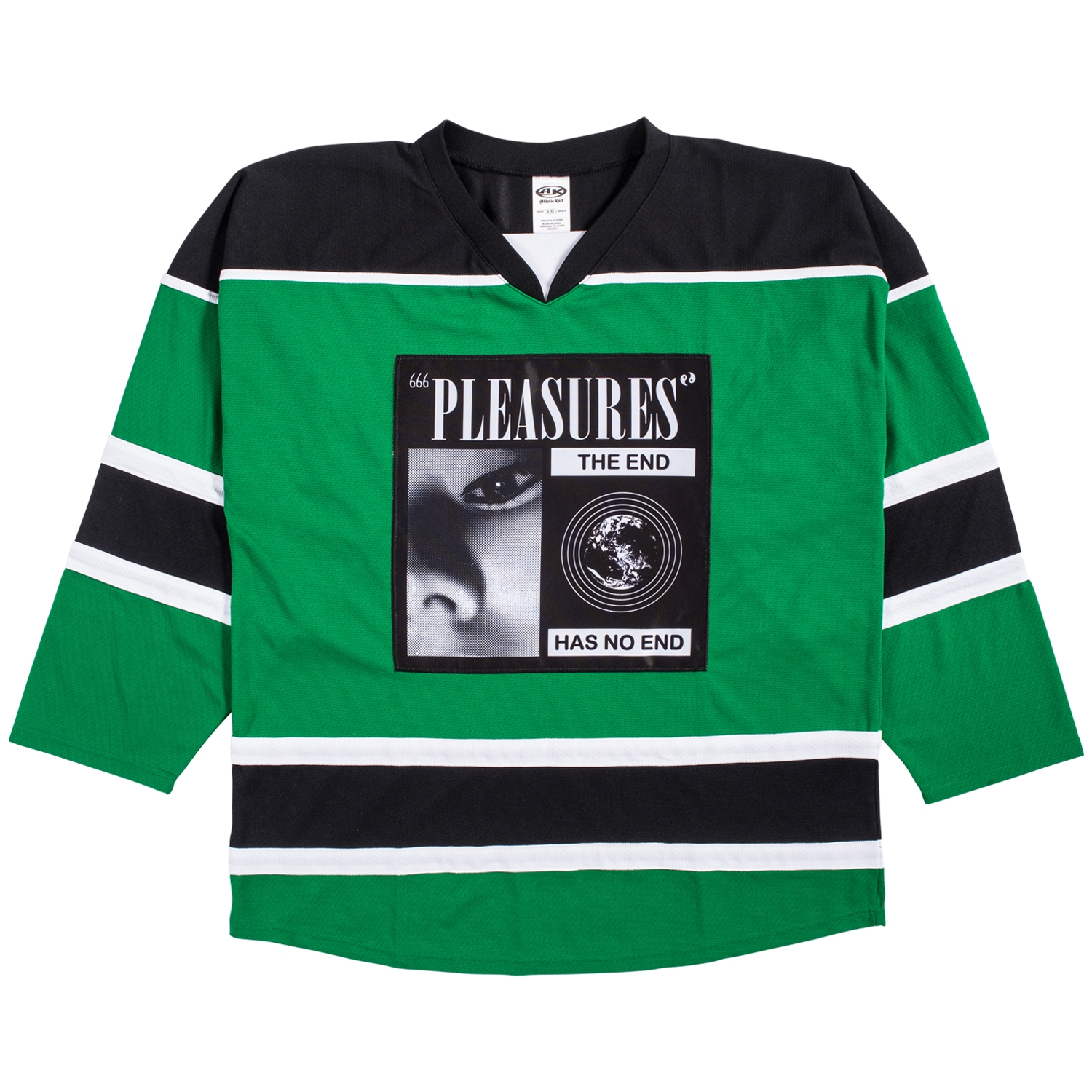 【PLEASURES/プレジャーズ】NO END HOCKEY JERSEY ジャージー / BLACK/GREEN