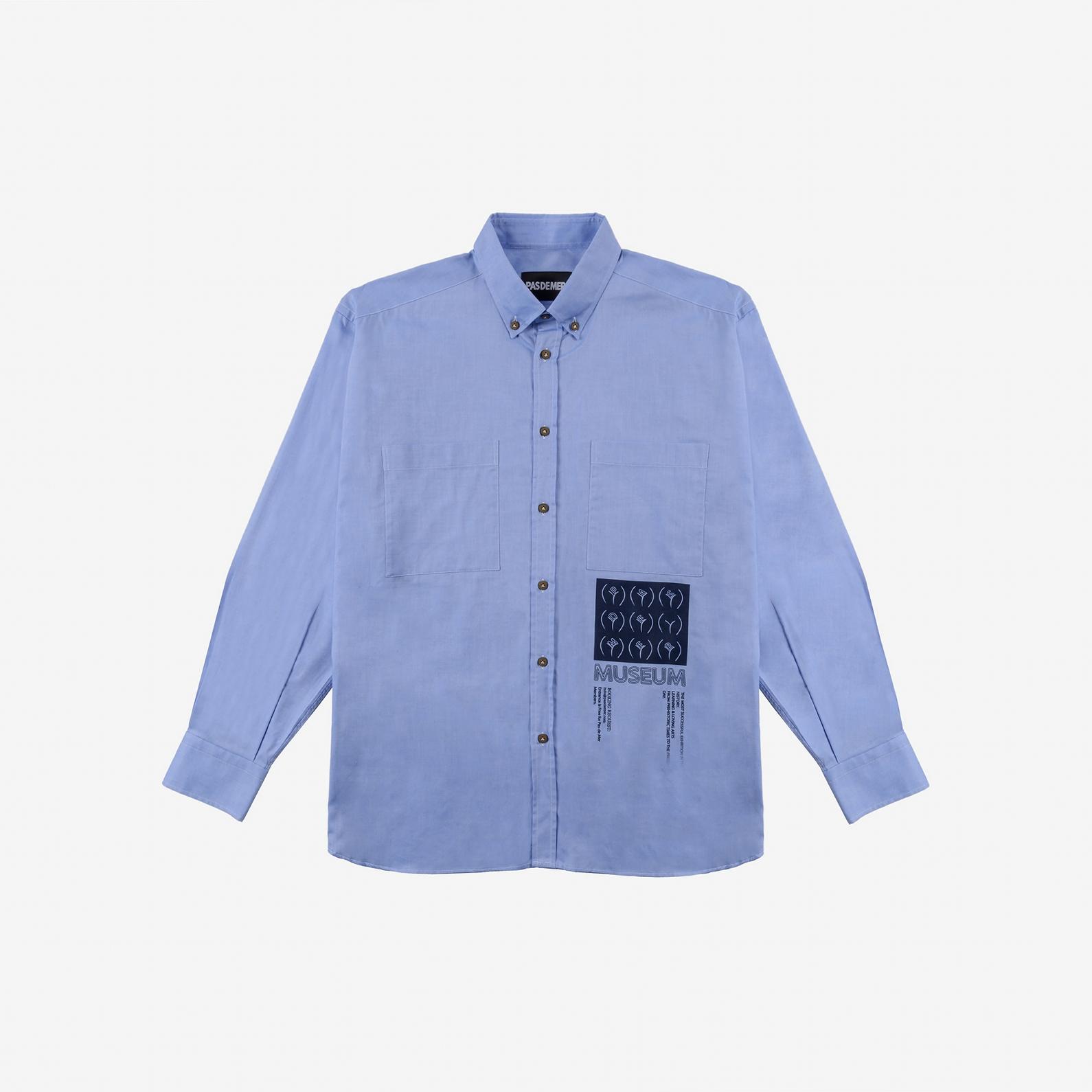 【PAS DE MER/パドゥメ】MUSEUM SHIRT 長袖シャツ / LIGHT BLUE