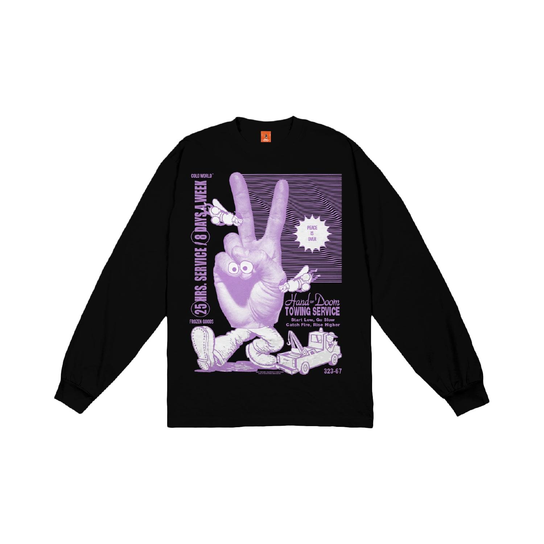 【COLD WORLD FROZEN GOODS/コールドワールドフローズングッズ】HAND OF DOOM LONG SLEEVE  長袖Tシャツ / BLACK