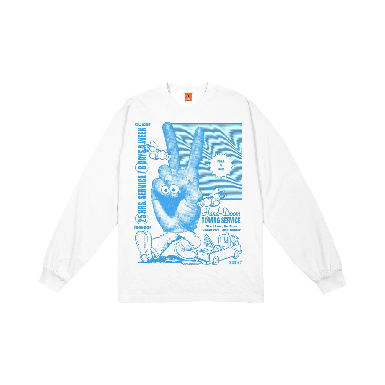 【COLD WORLD FROZEN GOODS/コールドワールドフローズングッズ】HAND OF DOOM LONG SLEEVE  長袖Tシャツ / WHITE
