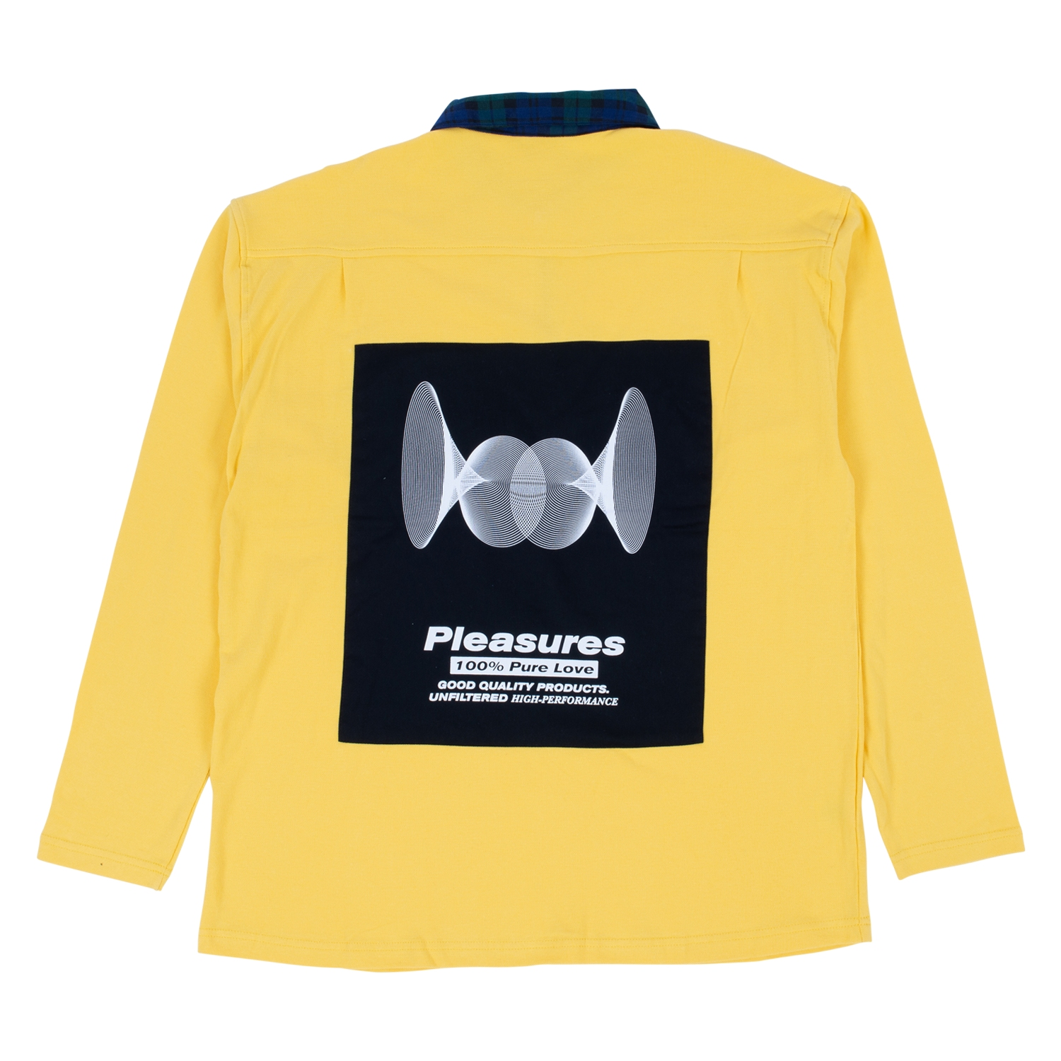 【PLEASURES/プレジャーズ】PURE LOVE QUARTER ZIP POLO LONG SLEEVE ポロシャツ / YELLOW