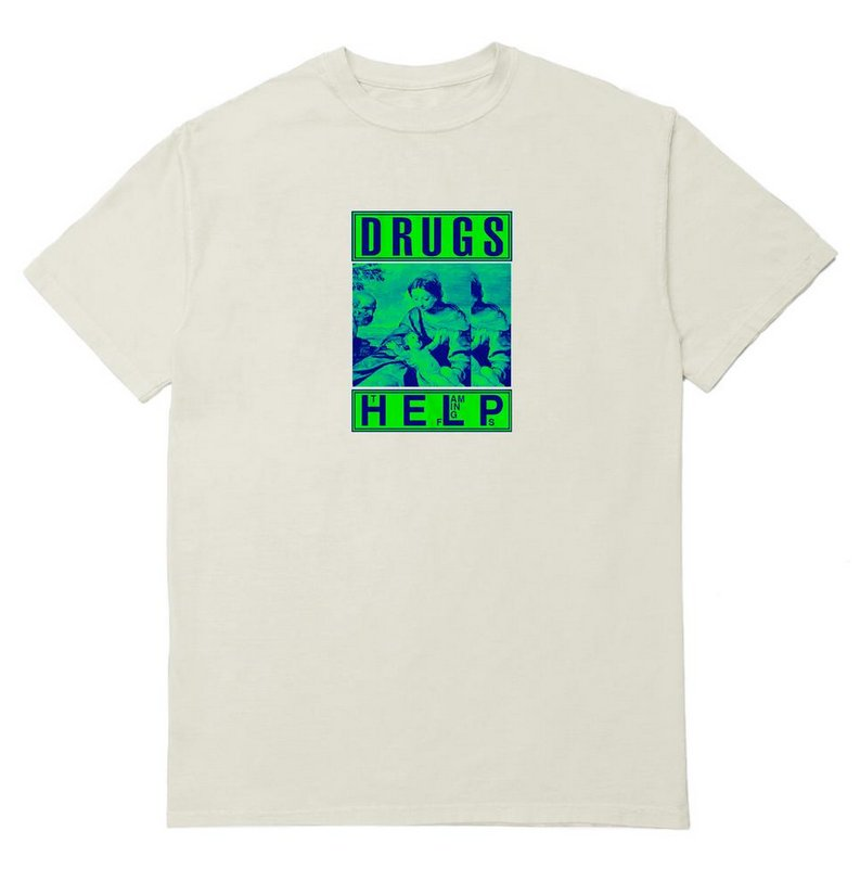 【PLEASURES/プレジャーズ】DRUGS HELP T-SHIRT Tシャツ / CR?ME