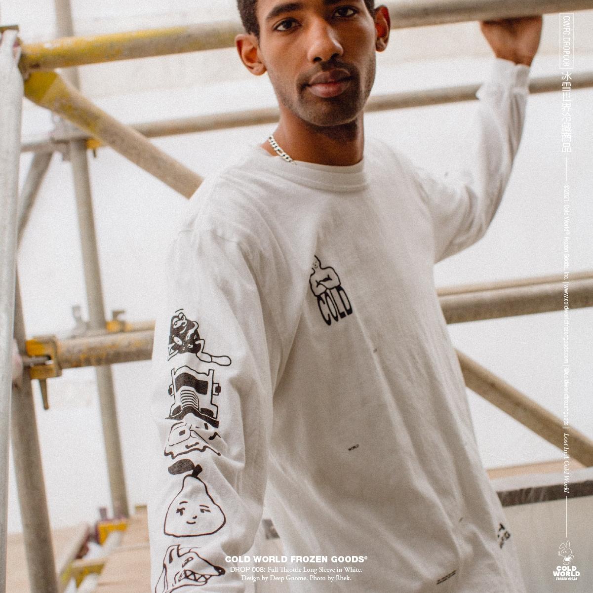 【COLD WORLD FROZEN GOODS/コールドワールドフローズングッズ】FULL THROTTLE LONG SLEEVE  長袖Tシャツ / WHITE