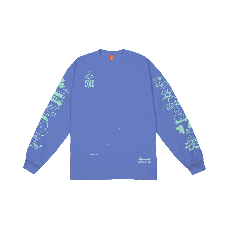 【COLD WORLD FROZEN GOODS/コールドワールドフローズングッズ】FULL THROTTLE LONG SLEEVE  長袖Tシャツ / FLO BLUE