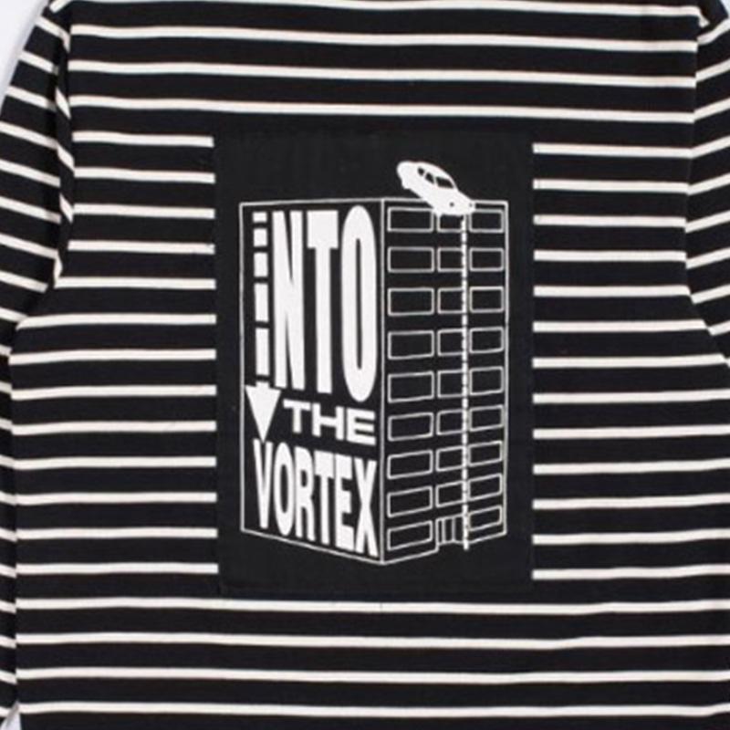 【PLEASURES/プレジャーズ】VORTEX LONG SLEEVE STRIPED SHIRT カットソー / BLACK