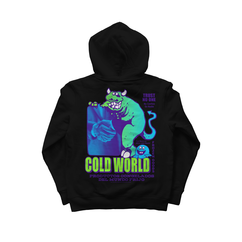 【COLD WORLD FROZEN GOODS/コールドワールドフローズングッズ】TRUST ISSUES HOODIE  パーカー / BLACK