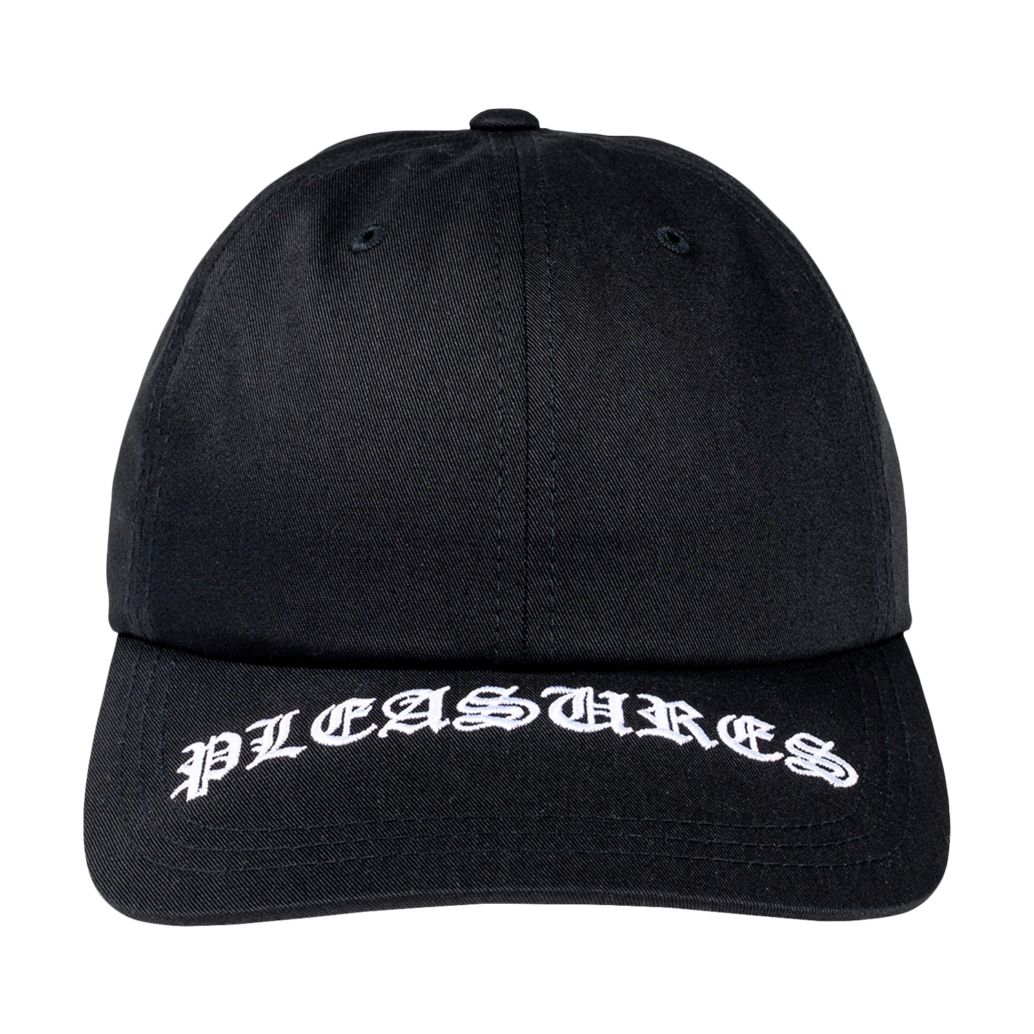 【PLEASURES/プレジャーズ】HEAVY METAL LOW PROFILE EMBROIDERED SNAPBACK スナップバックキャップ / BLACK