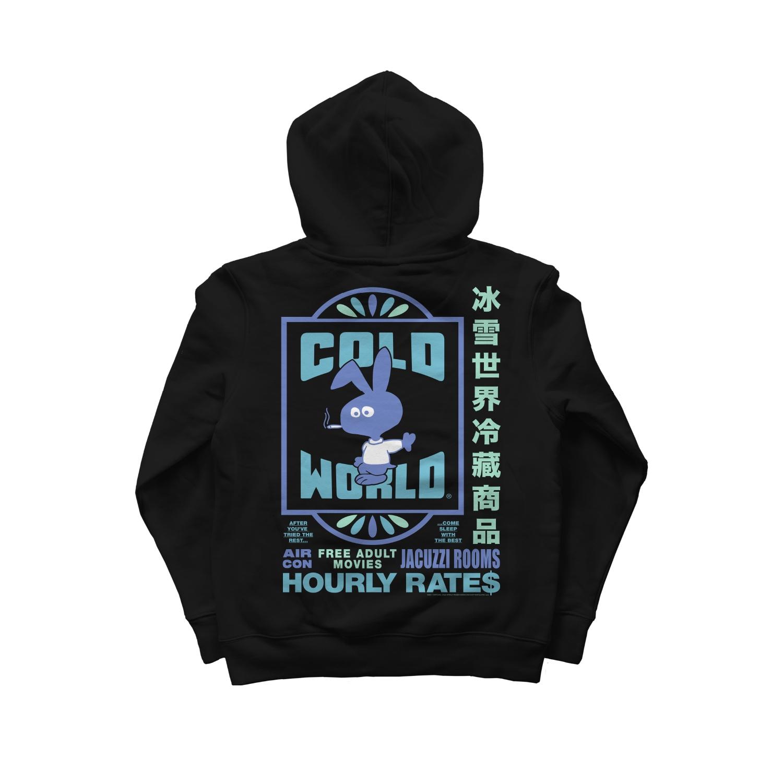 【COLD WORLD FROZEN GOODS/コールドワールドフローズングッズ】MOTEL BUNNY HOODIE パーカー / BLACK
