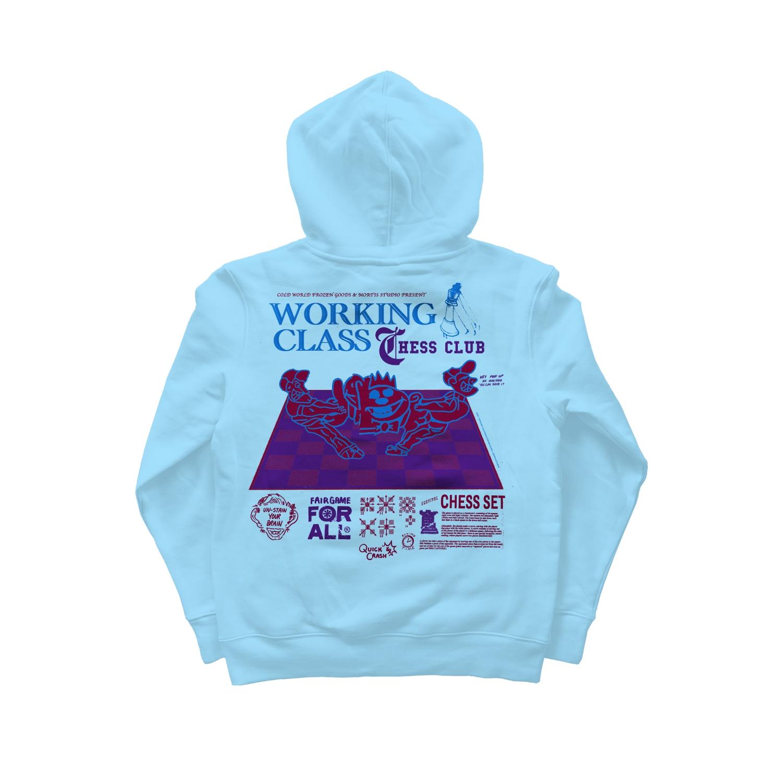 【COLD WORLD FROZEN GOODS/コールドワールドフローズングッズ】WORKING CLASS HOODIE パーカー / AQUA BLUE