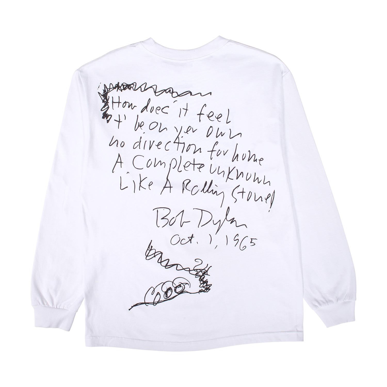 【PLEASURES/プレジャーズ×BOB DYLAN/ボブ・ディラン】RIDE LONG SLEEVE T-SHIRT ロングTシャツ / WHITE